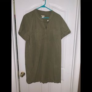 JCrew Shirt Dress, XL, Olive Green